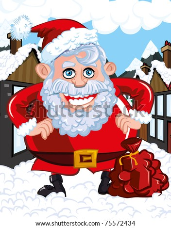 Cartoon Santa with a white beard. He is a in a town street