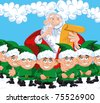 Cartoon Santa with a white beard. Surrounded by elves - stock vector
