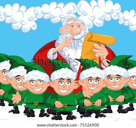 Cartoon Santa with a white beard. Surrounded by elves