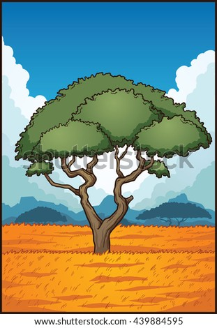 Cartoon savanna landscape. Vector clip art illustration with simple gradients. Some elements on separate layer.  - stock vector