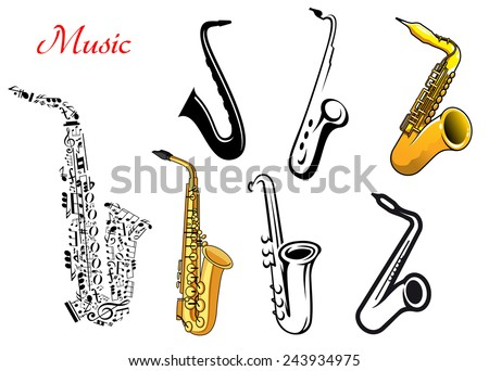 Cartoon saxophone music instruments isolated on white, one with musical notes - stock vector