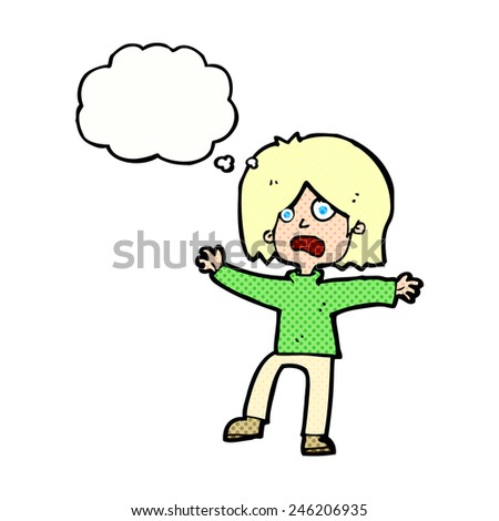 cartoon scared person with thought bubble - stock vector