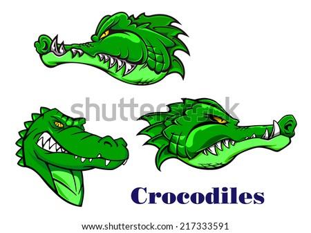 Cartoon scary, carnivore and aggressive crocodile or alligator characters for mascot design - stock vector