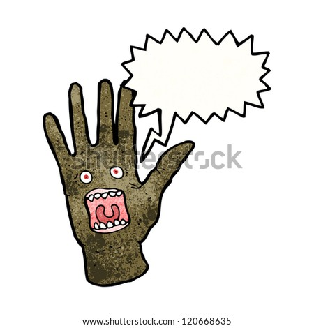 cartoon scary halloween possessed zombie hand - stock vector