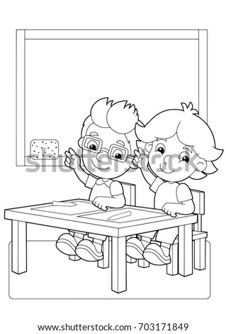 Cartoon Scene With Children In The Classroom Holding Hands Up Vector Coloring Page