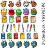 Cartoon school bags, pencils, books, notebooks, pen, globe, palette with paints and brush - stock photo
