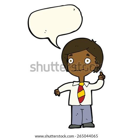 cartoon school boy answering question with speech bubble - stock vector