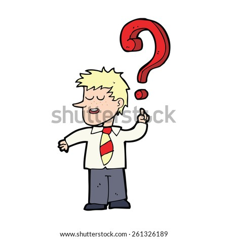 cartoon school boy asking question - stock vector