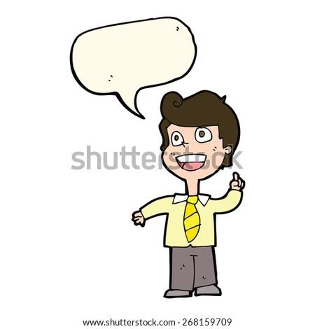 cartoon school boy raising hand with speech bubble - stock vector
