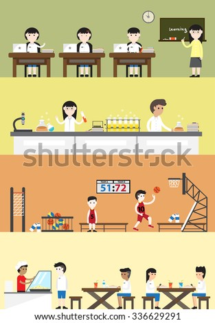 Cartoon school building interior layout for subject class such as language, science chemistry laboratory, sport  gymnasium gym physical education cafeteria canteen for student children banner (vector)