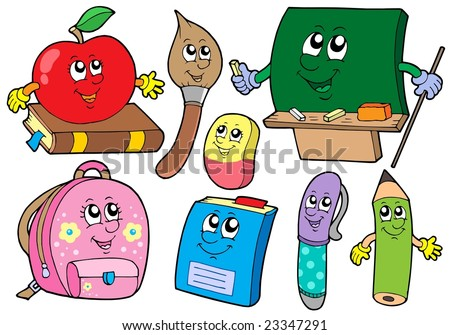 Cartoon school illustrations collections - vector illustration. - stock vector