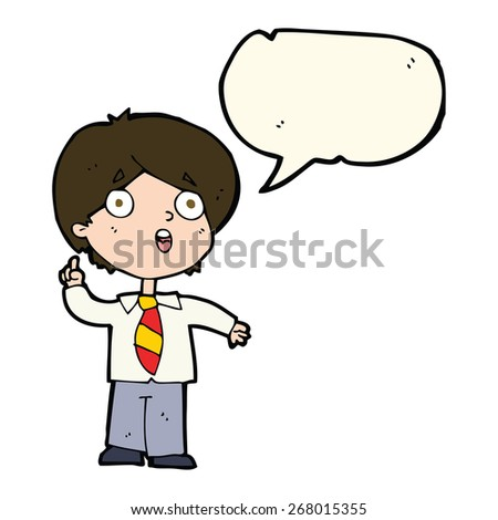 cartoon schoolboy answering question with speech bubble - stock vector