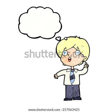 cartoon schoolboy answering question with thought bubble - stock vector