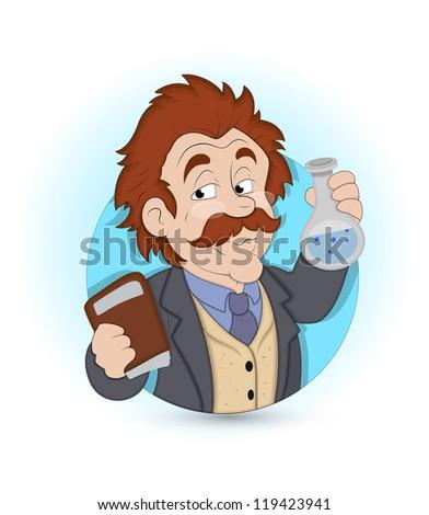 Cartoon Scientist - stock vector