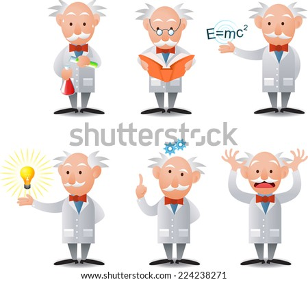 cartoon Scientist character in six poses. - stock vector