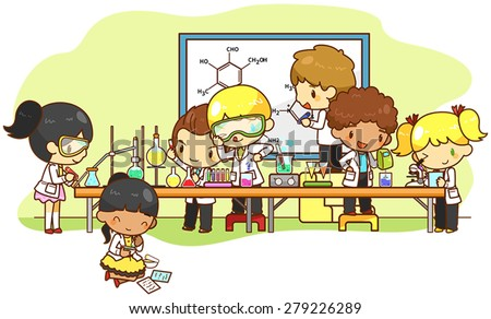 Cartoon scientist children kid are studying and working on chemistry science experiment in laboratory, create by vector for education concept.