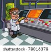 Cartoon scientist in his laboratory. Computers and lab equipment behind - stock photo