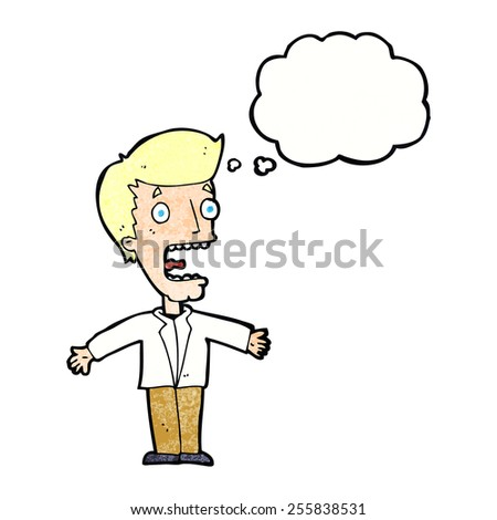 cartoon screaming man with thought bubble - stock vector
