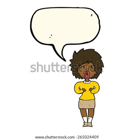 cartoon screaming woman with speech bubble - stock vector