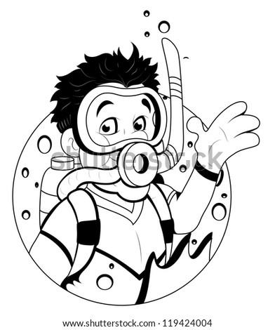 Cartoon scuba diver stock vector 119424004 shutterstock - Dessin plongeur ...