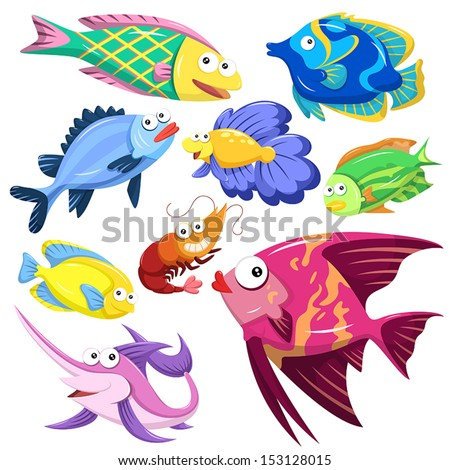 cartoon sea animals collection with white background - stock vector