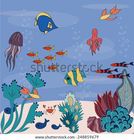 Cartoon sea bottom with colorful fishes - stock vector
