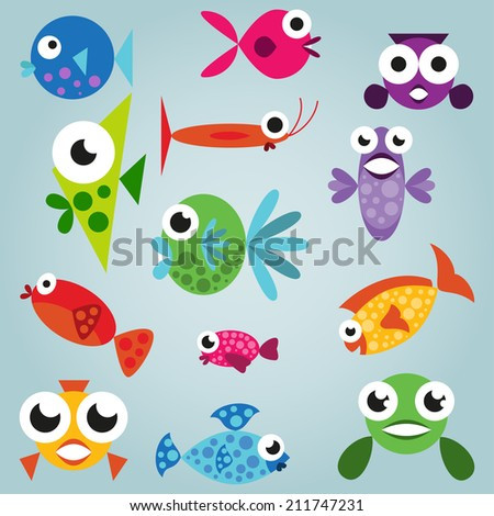 Cartoon sea fish set, funny comic fishes, simple fishes