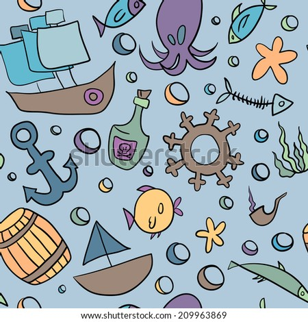 cartoon sea seamless pattern with octopus, fish, bottle, anchor, ship, barrel, tube, steering wheel, bubble, algae and starfish on the blue background