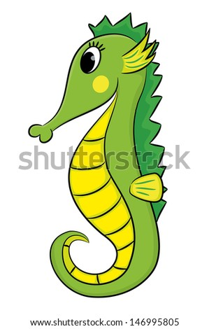Cartoon seahorse. - stock vector