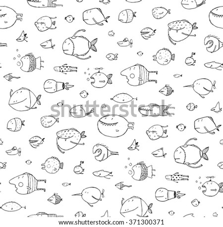 Cartoon Seamless Pattern Funny Childish Fish Black on White Line Art. Funny cartoon fish pattern outline drawing backdrop. Pencil style. EPS10 vector has no background color. - stock vector