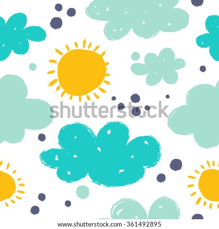 Cartoon seamless pattern with in funny style. - stock vector