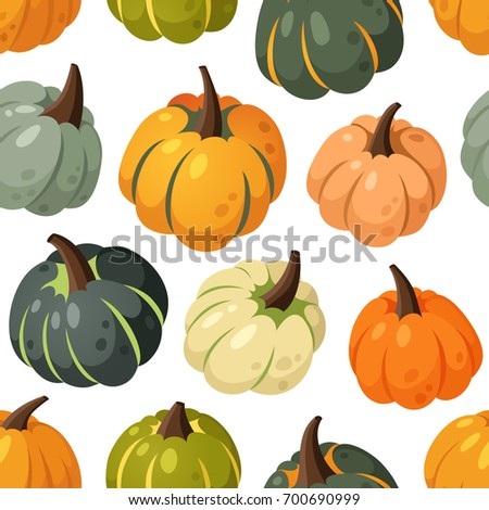 cartoon seamless pattern with multicolor pumpkins isolated on white background hand drawn harvest illustration