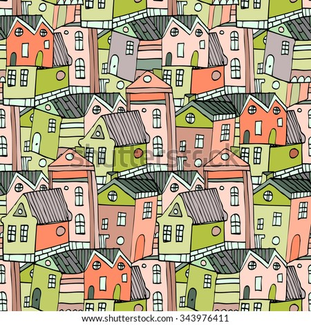 Cartoon seamless pattern with tiny houses, Hand drawn town. Sketch  - stock vector