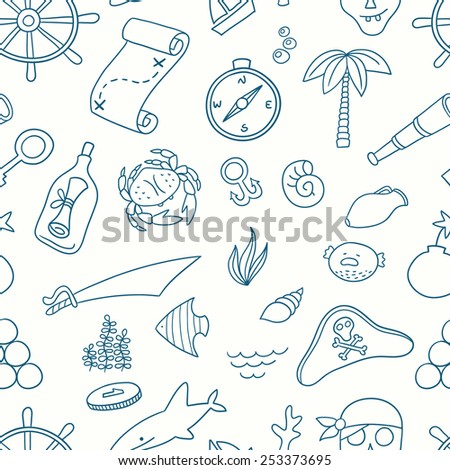 Cartoon seamless pirate pattern. Hand drawn pirate pattern made in vector. Anchor, spyglass, boat, map, fish, compass, shark and other symbols. - stock vector