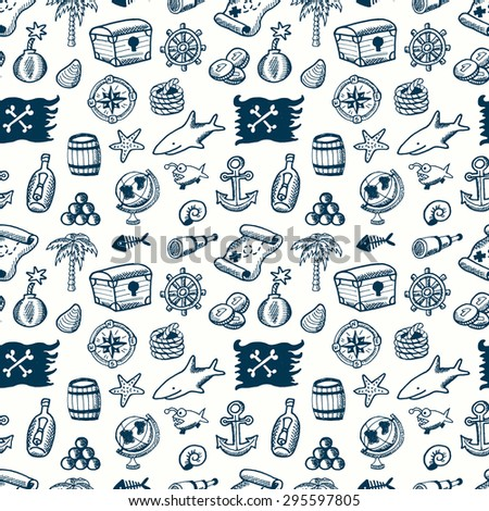 Cartoon seamless pirate pattern. Hand drawn pirate pattern made in vector. Map,  flag, key, shark,  anchor, spyglass, roger, treasure, ahoy, bone, money, rum, bottle, palm, cannonball and other. - stock vector