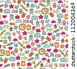 Cartoon seamless web icon pattern. Cute element. Seamless pattern can be used for wallpaper, pattern fills, web page background, surface textures. - stock vector