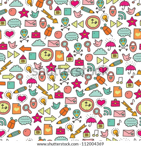 Cartoon seamless web icon pattern. Cute element. Seamless pattern can be used for wallpaper, pattern fills, web page background, surface textures.