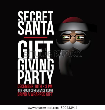Cartoon Secret Santa invitation template with Santa Claus. EPS 10 vector.