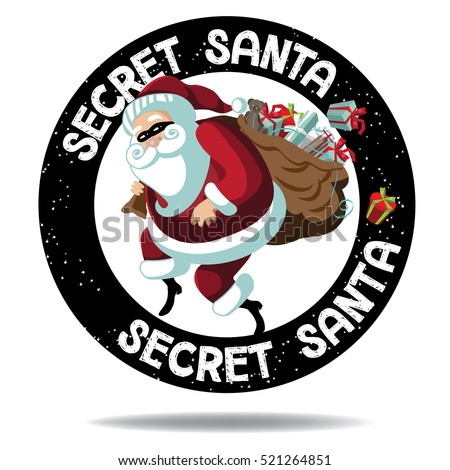 cartoon secret santa stamp icon santa stock photo photo vector rh shutterstock com secret santa clip art free secret santa clip art black and white