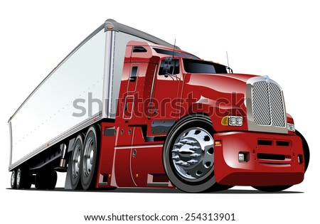 Cartoon semi truck. Available eps-10 vector format separated by groups with transparency effects for one-click repaint - stock vector