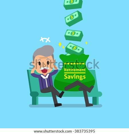 Cartoon senior man earning money - stock vector