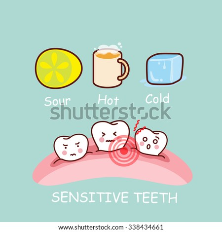cartoon sensititive tooth, great for health dental care concept - stock vector
