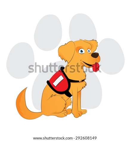 Cartoon service dog sitting on a paw background - stock vector