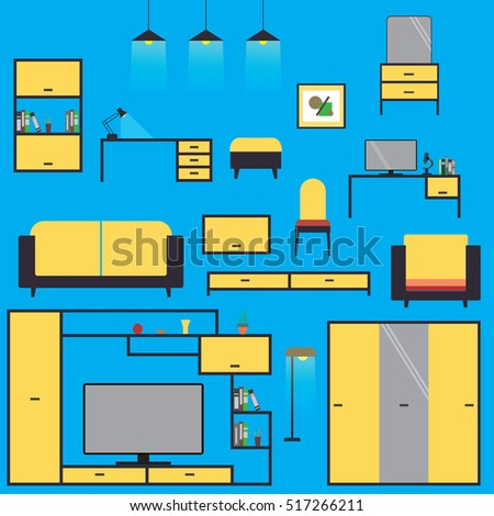 Cartoon Set home furniture,isolated on blue background ,flat vector illustration