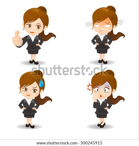 Cartoon set of  business woman facial expressions - stock vector