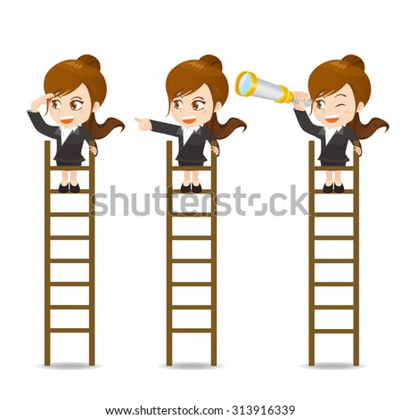 Cartoon set of Business woman look and stand on the ladder isolated on white background - stock vector