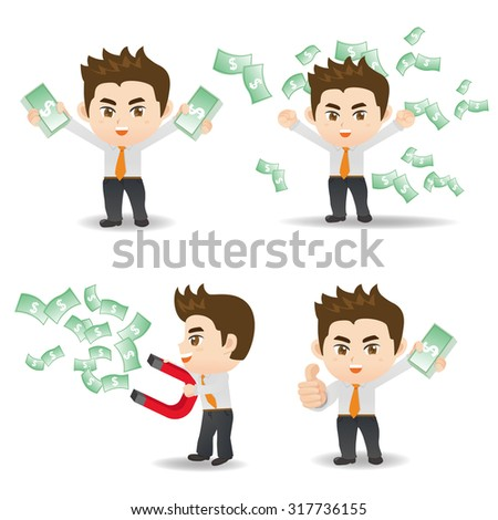 Cartoon set of businessman show finance and money - stock vector