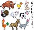 Cartoon set of farm animals isolated on white - stock vector