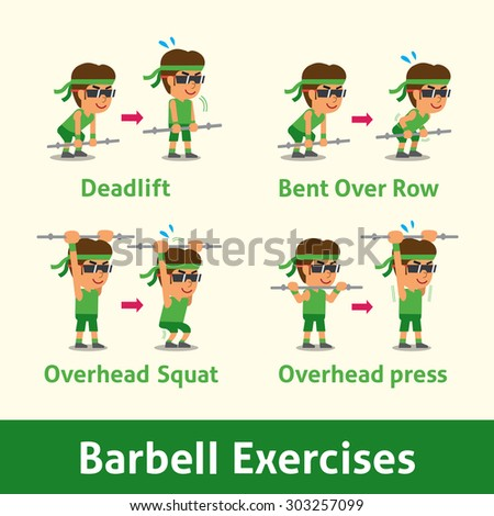 Cartoon set of man doing barbell exercise step for health