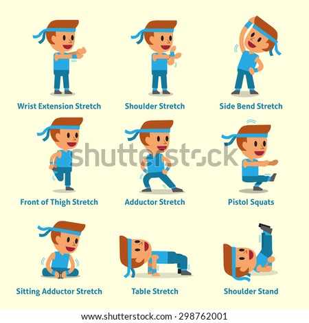 Cartoon set of man doing exercises for health and fitness - stock vector